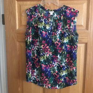 Jcrew floral sleeveless top —size 4